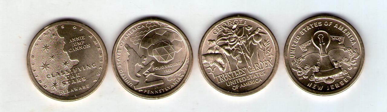 США 1 доллар 2019 год - 4 шт.