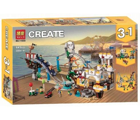 Конструктор BELA CREATOR 11055 Пиратские горки Аттракцион 3в1 945 деталей