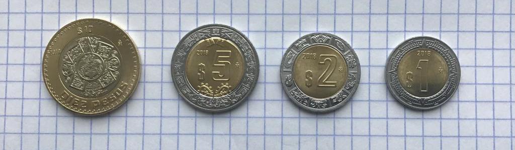 Мексика набор 1,2,5,10 $ песо  2018 года