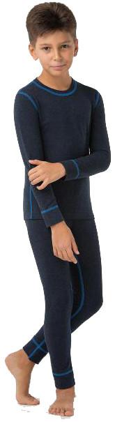 Термобельё повседневное детское комплект для мальчиков Kifa Wool Comfort тёмно синий
