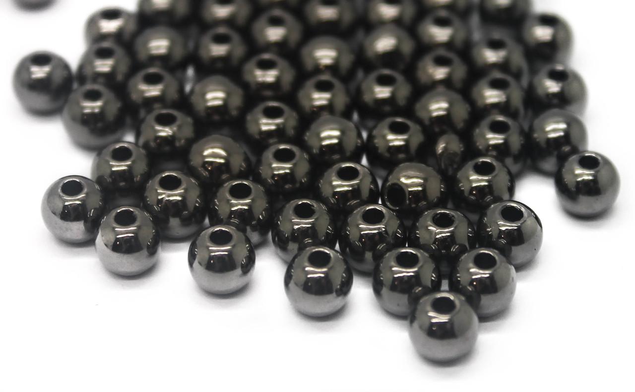 Пластикові намистини Круглі, Колір: Сірий, Діаметр: 6 мм,в упаковці 25г.(приблизно 200 шт)