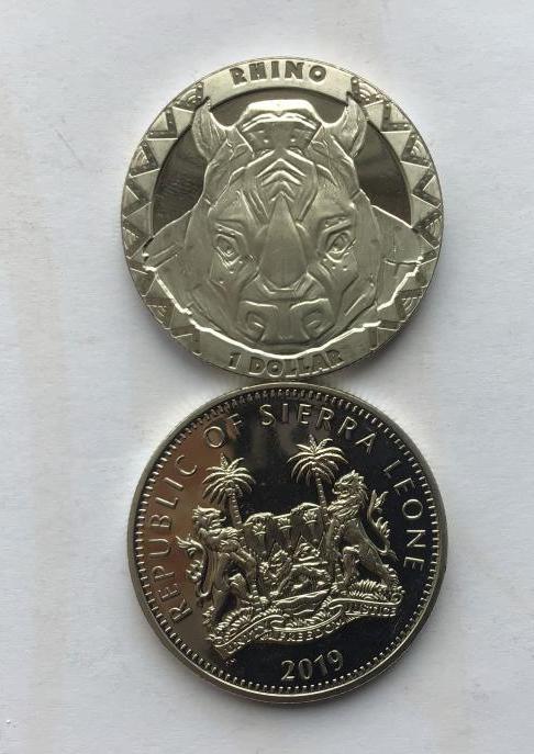 Sierra Leone Сьерра-Леоне 1 доллар 2019 Носорог.