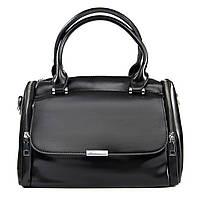 Сумка женская классическая натуральная кожа черного цвета, стильная женская сумка