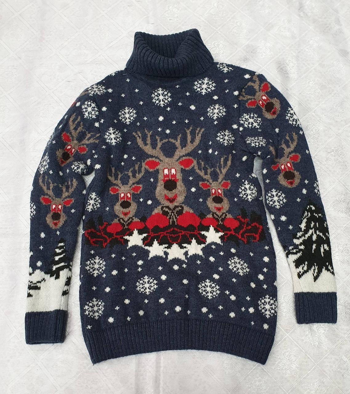 Вязаный свитер с оленями на мальчиков 5-11 лет Индиго