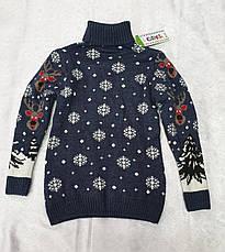 Вязаный свитер с оленями на мальчиков 5-11 лет Индиго, фото 2
