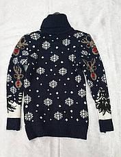 Вязаный свитер с оленями на мальчиков 5-11 лет Индиго, фото 3
