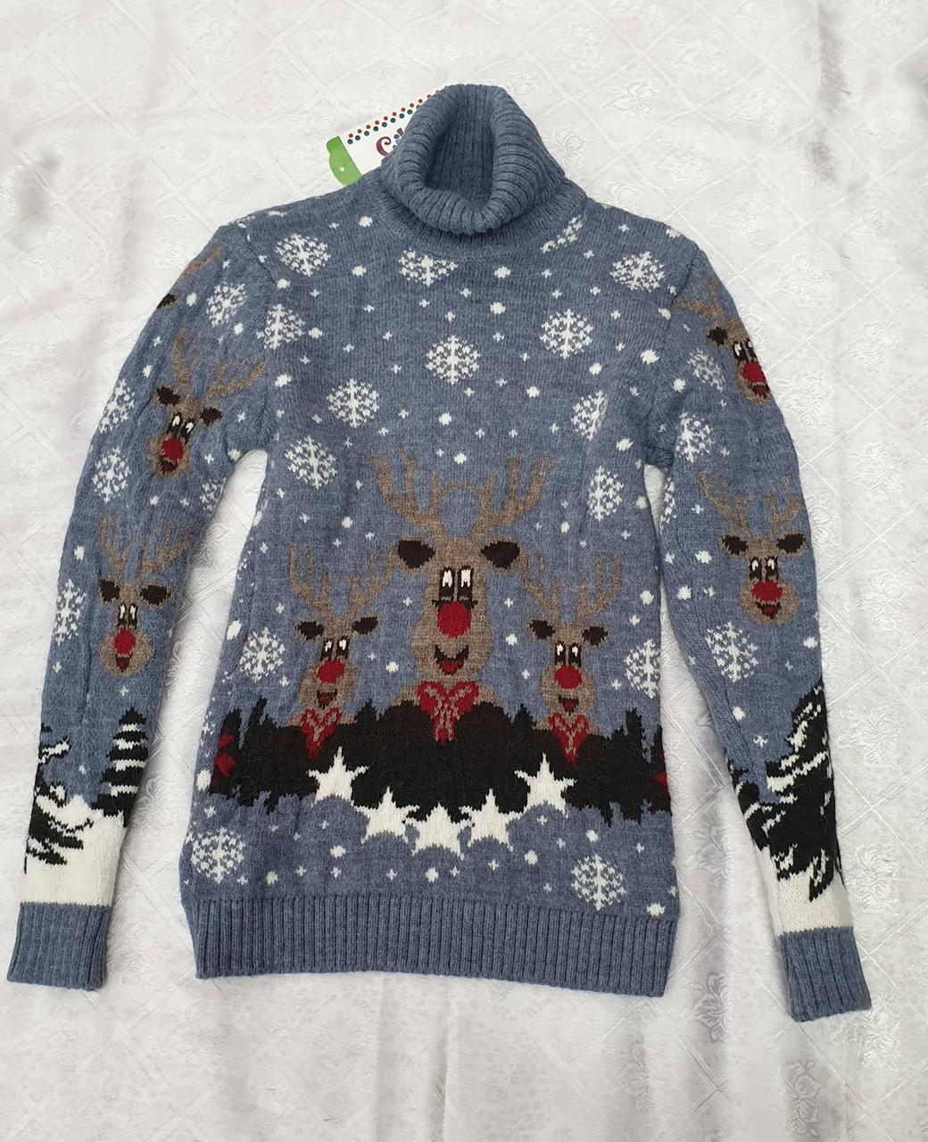 Вязаный свитер с оленями на мальчиков Индиго