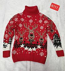 Вязаный свитер с оленями на мальчиков Индиго, фото 2