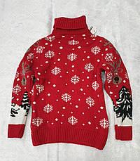 Вязаный свитер с оленями на мальчиков Индиго, фото 3