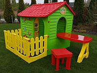 Великий ігровий будиночок з огорожою + стіл зі стільцем, фото 1