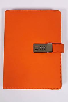 Блокнот ежедневник со встроенным POWER BANK  с проводной зарядкой ярко оранжевый