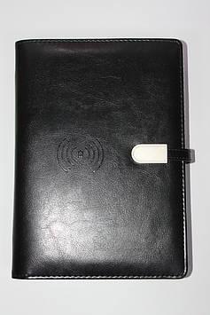 Блокнот ежедневник со встроенным  POWER BANK  беспроводная зарядка черный