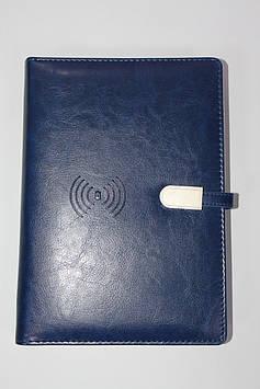 Набор подарочный блокнот ежедневник со встроенным  POWER BANK 16GB флешка ручка коробка синий