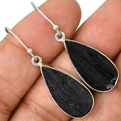 Серебряные серьги с шерлом черным турмалином, 1206СШ