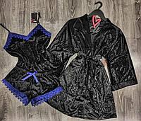 Черный велюровый халат+ пижама с хлопковым кружевом.