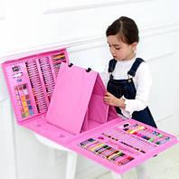 Набор художественный для рисования 208 предметов с мольбертом в кейсе Розовый