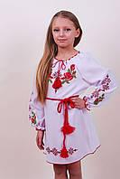 """Детское вышитое платье """"Зоряна"""" (габардин белый), 122 (рост)"""