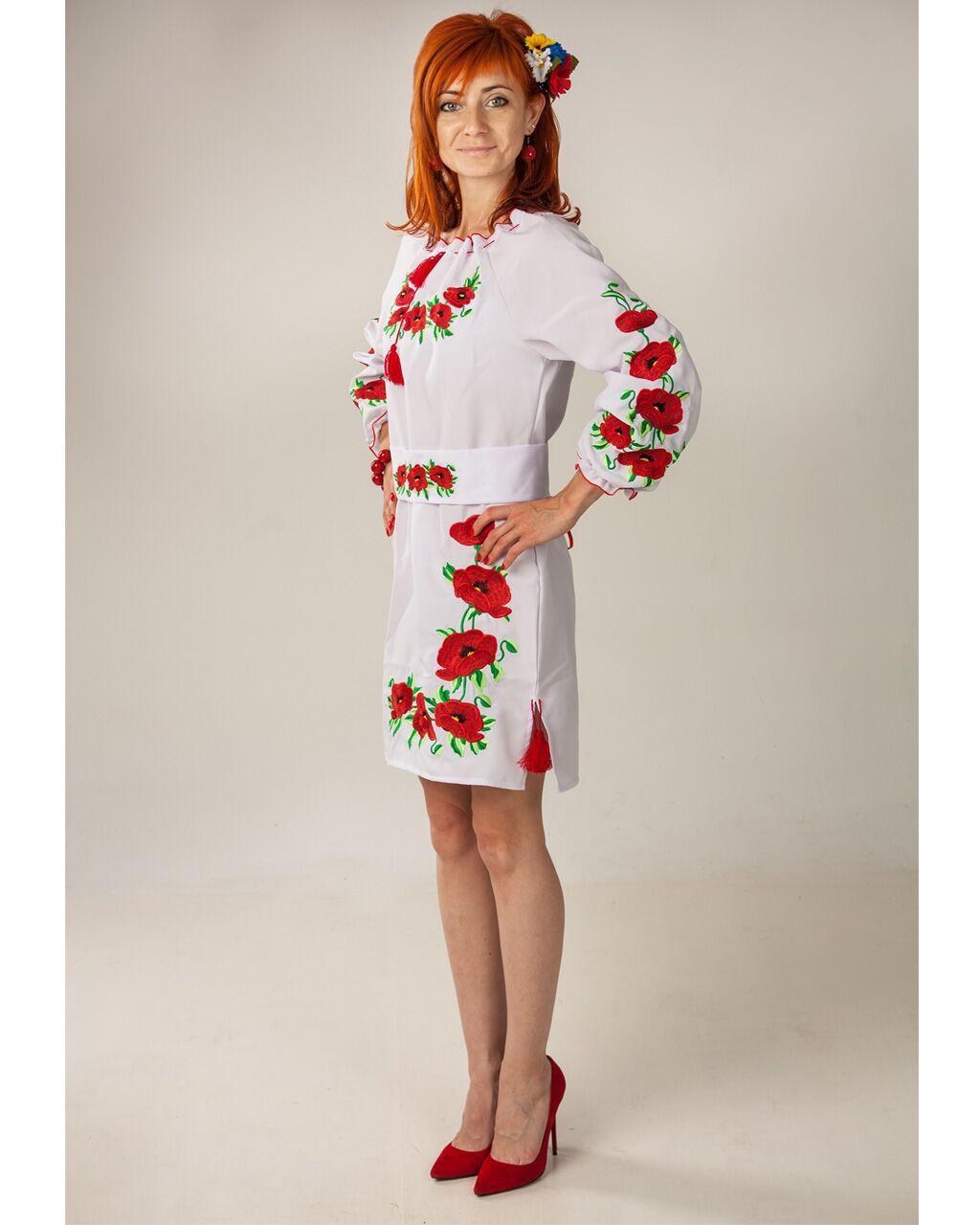 """Женское вышитое платье """"Маки"""" , 40"""