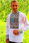 "Вышиванка мужская ""Тризуб"" , 42, Лен серый, фото 6"