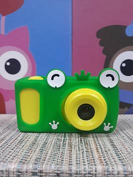 Детский фотоаппарат для мальчика с видео записью digital camera желтый в чехле лягушка