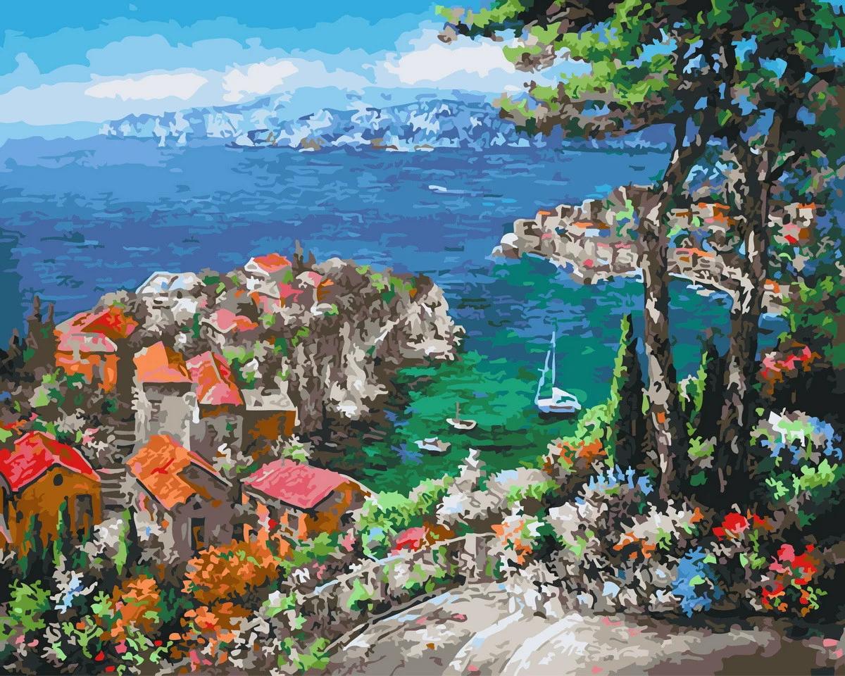 Живопись по номерам Лазурный берег GX27235 Rainbow Art 40 х 50 см (без коробки)
