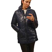 Демисезонная женская куртка с накладным карманом, модель Юлия, синий лак, размеры 48 - 54