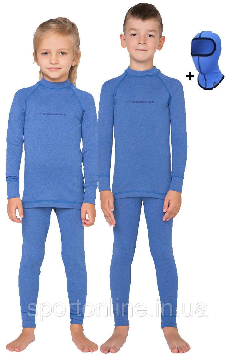 Детский комплект термобелья Rough Radical Snowman теплое с балаклавой, голубой 28 (104-110)