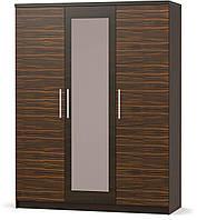 Шкаф 3Д Вероника МЕБЕЛЬ-СЕРВИС Макасар + Венге темный (156х56.3х203.4 см)