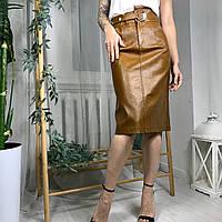 Женская кожаная юбка трапеция Milan Sheng (6705) Охра, размер M