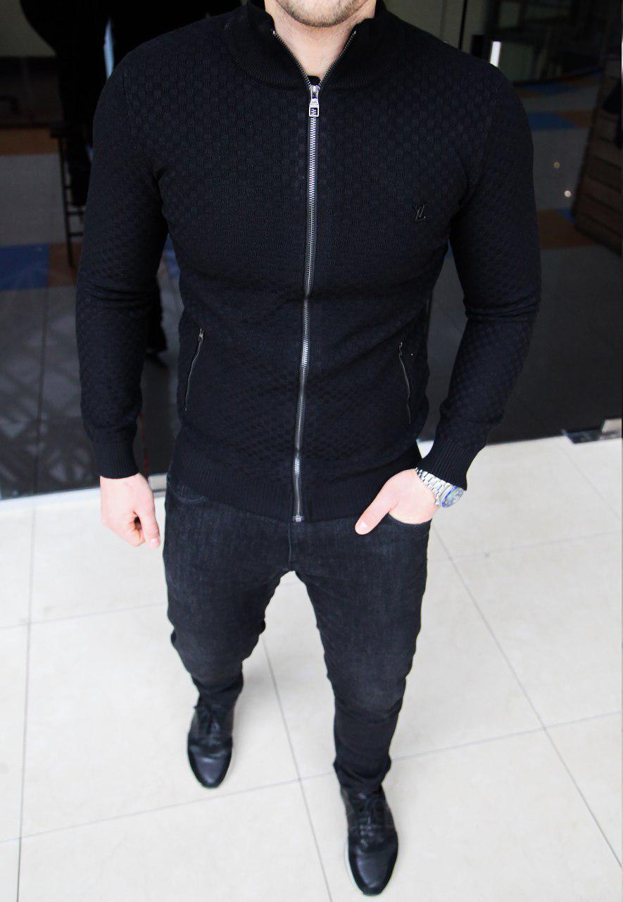 Мужская кофта на змейке Louis Vuitton H0237 черная