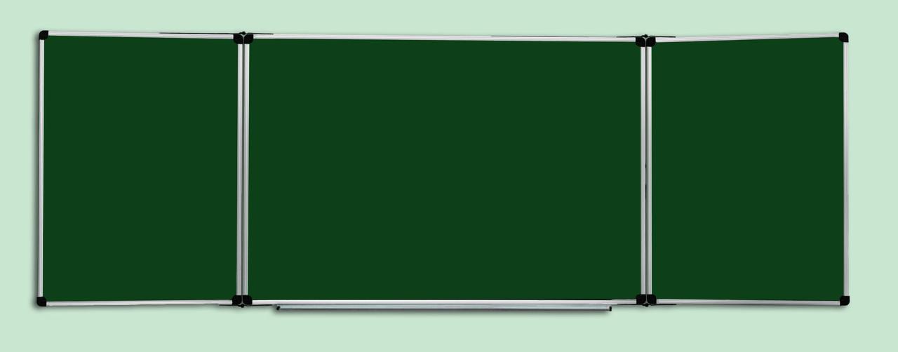 Доска меловая 300x100 см в алюминиевой рамке ABC Office трехсекционная зеленая