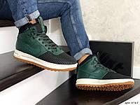 Чоловічі кросівки в стил  Nike Lunar Force 1 Duckboot  зелені з чорним
