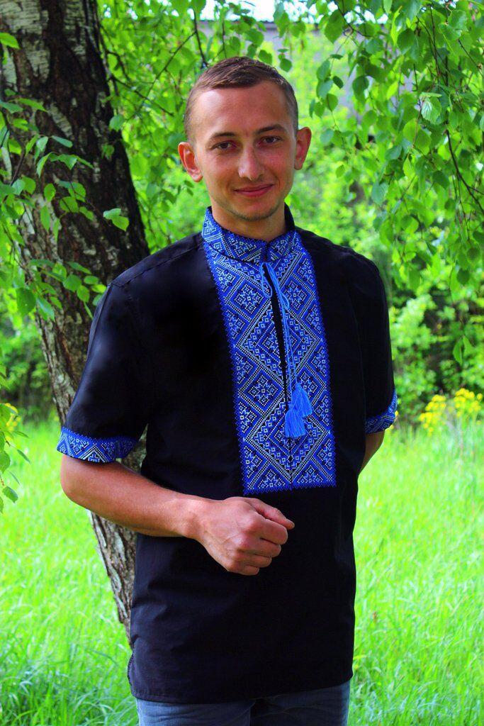 "Мужская вышиванка ""Федор"" (чёрно-синий) короткий рукав, 37"