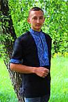 """Мужская вышиванка """"Федор"""" (чёрно-синий) короткий рукав, 37, фото 4"""
