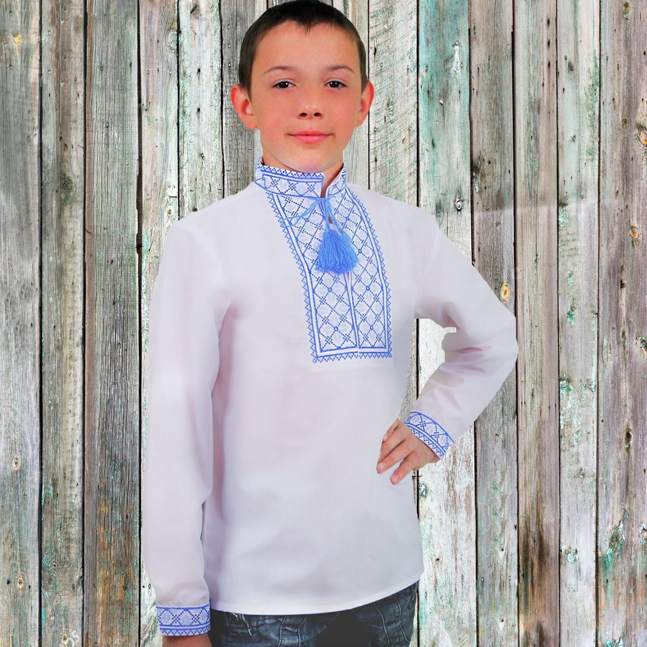 """Вышиванка детская для мальчика """"Руслан"""" с Синей вышивкой, 104 (рост)"""