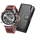 Комплект ударопрочные часы AMST + портмоне Baellerry Business black