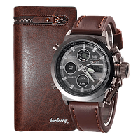 Комплект ударопрочные часы AMST + портмоне Baellerry Italia