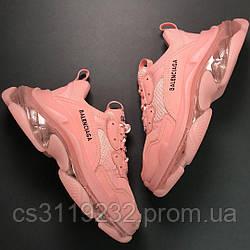 Женские кроссовки Balenciaga Triple S Full Pink (розовый)