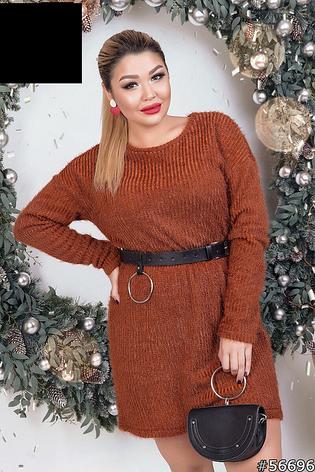 Платье -свитер женское стильное размеры: 48,50,52,54, фото 2