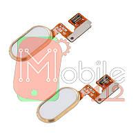 Шлейф Meizu M3 Note L681H з білою кнопкою меню Home обідком золотистого кольору