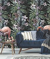 Детское панно дизайнерское в комнату Джунгли и Фламинго Jungle Flamingo 155 см х 250 см