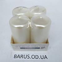 Свечи столбики Bispol перламутр белый 4 шт 80*40 мм