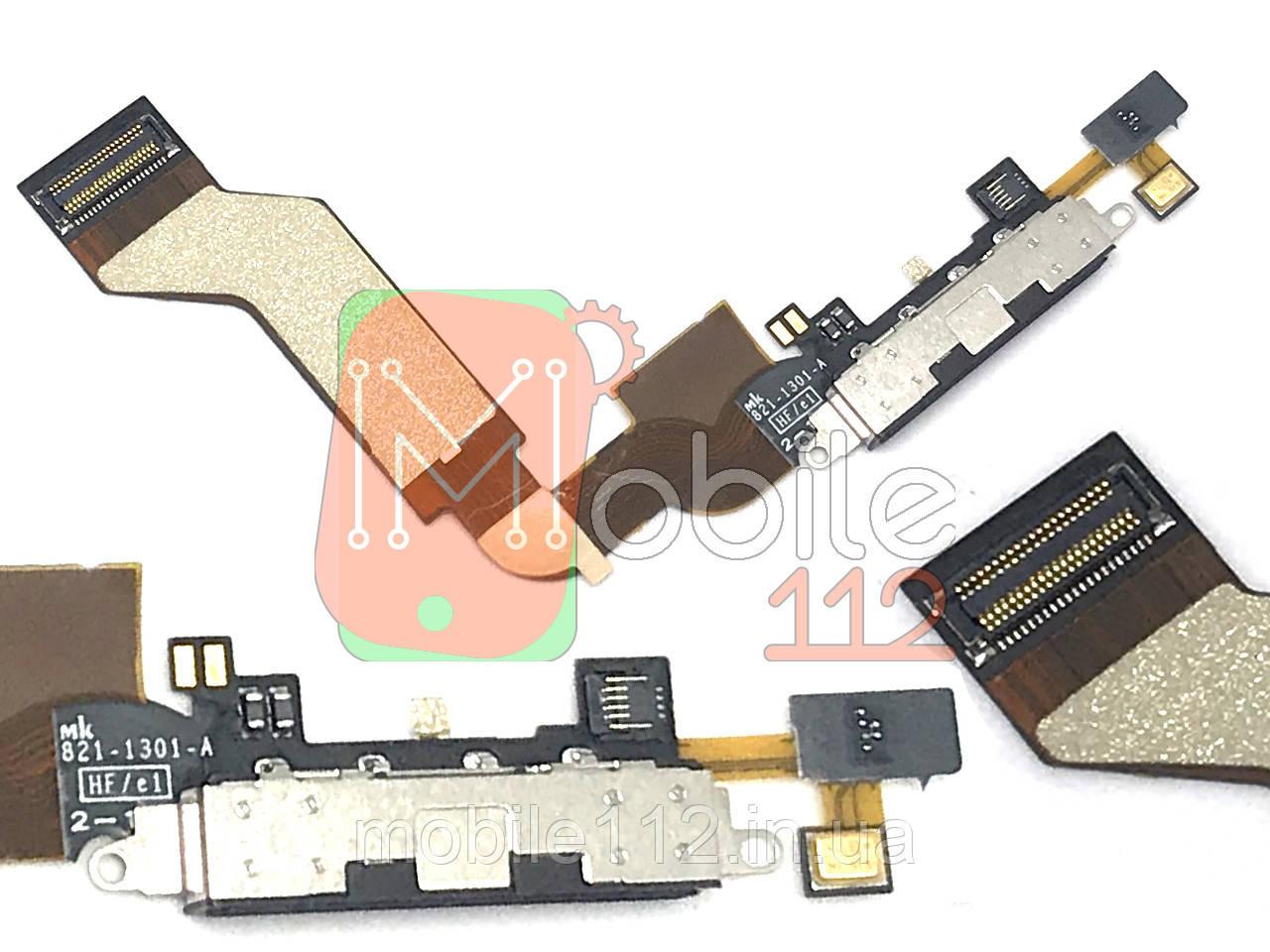 Шлейф  iPhone 4S, с разъемом зарядки, с микрофоном, оригинал PRC черный