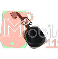 Шлейф Apple iPhone 6, 6 Plus, з кнопкою меню Home чорна пластикова накладка