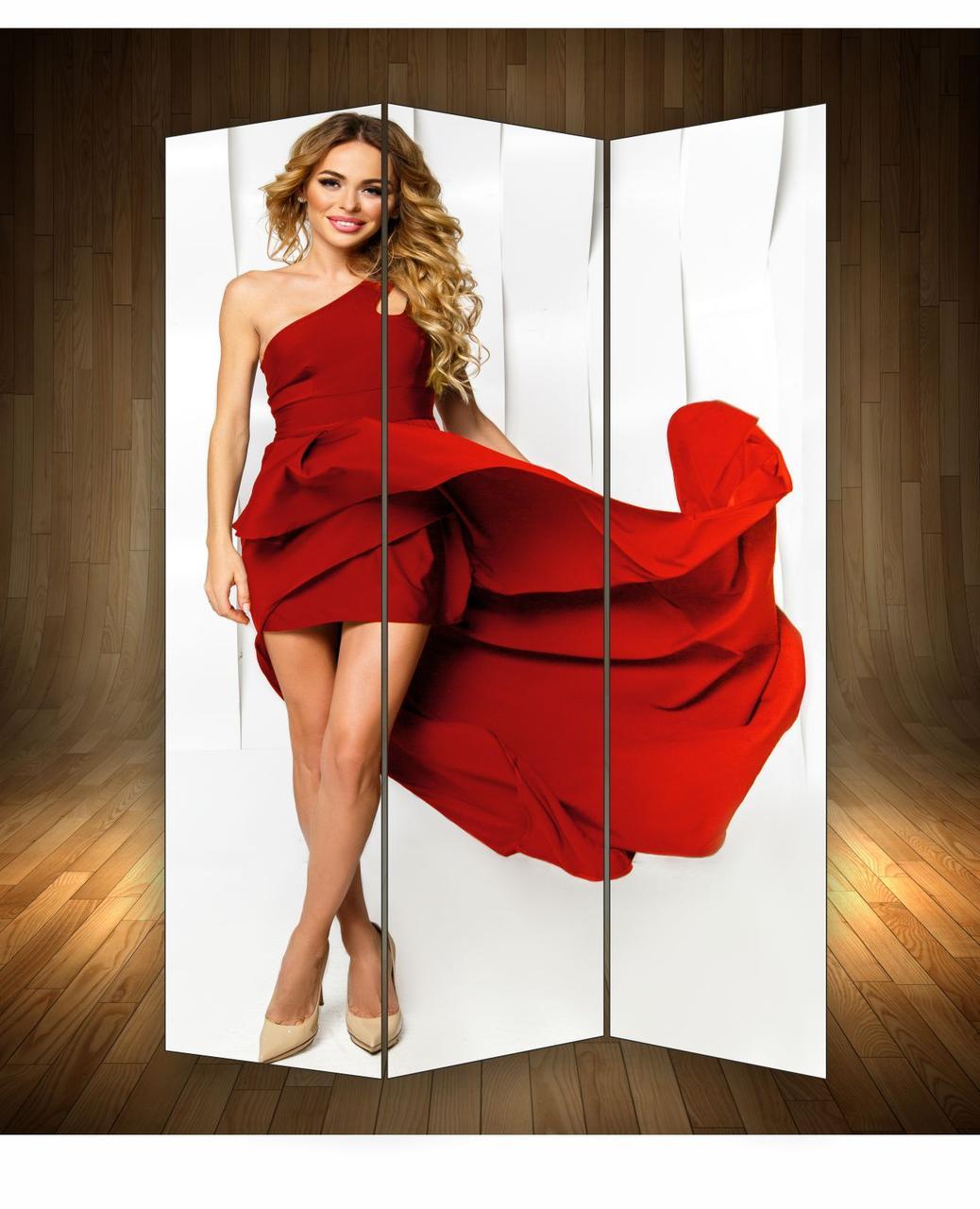 """Ширма декоративна"""" Дівчина в червоній сукні"""""""