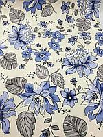 Тефлоновая ткань ДУК принт ВЕТОЧКА - цвет синий