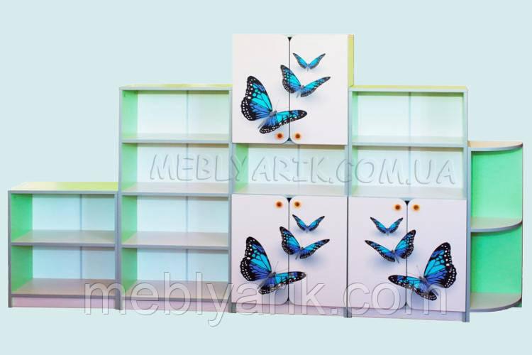 Стенка детская из пяти элементов с рисунком бабочки