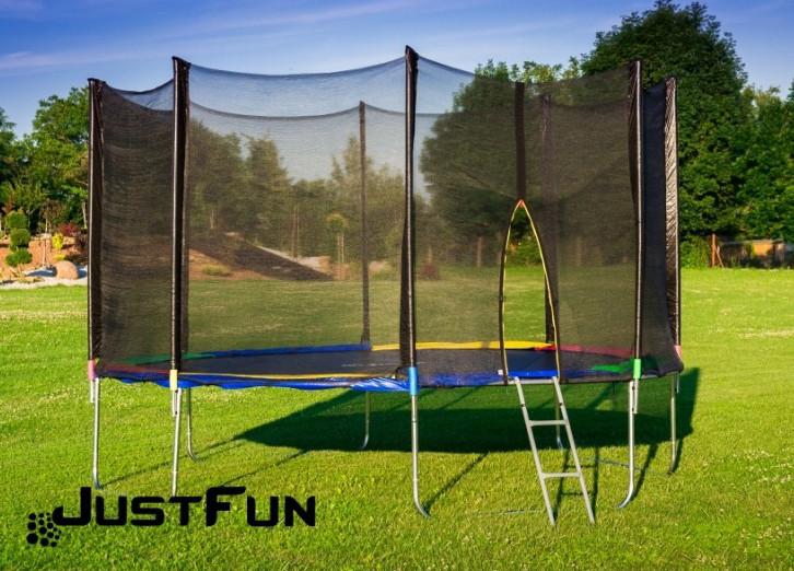 Батут 374 см Just Fun Multicolor для детей и взрослых с внешней сеткой и лестницей
