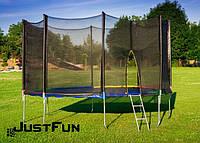 Батут 374 см Just Fun Multicolor для детей и взрослых с внешней сеткой и лестницей (для дорослих та дітей), фото 1