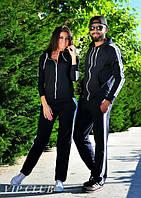 Модный черный спортивный костюм GF FERRE с белыми полосками